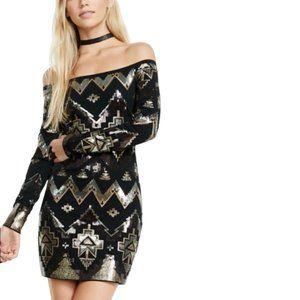 EXPRESS | Black Sequin Mini Dress Bodycon